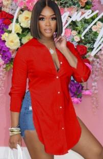 Zomer rode lange blouse met split aan de zijkant
