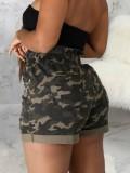 Pantalones cortos de mezclilla de cintura alta con estampado de camuflaje informal de verano