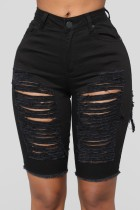 Summer Sexy Fitted Black Ripped Jeans-Shorts mit hoher Taille