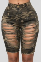 Sommer Sexy Fitted Camou Ripped Jeans-Shorts mit hoher Taille