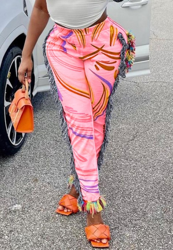 Pantalones de cintura alta con borlas estampadas casuales de verano