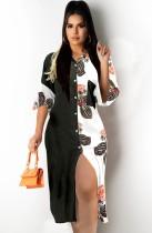 Vestido de blusa larga con bloque de color casual de verano