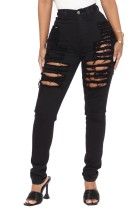 Sommer Sexy Fitted Black Ripped Jeans mit hoher Taille