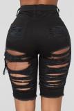 Pantalones cortos de mezclilla de cintura alta rasgados negros ajustados sexy de verano
