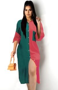 Summer Casual Color Block Langes Blusenkleid