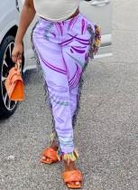 Summer Casual Print Quasten Hose mit hoher Taille
