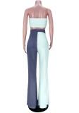 Conjunto de pantalón y top bandeau de bloque de color sexy de verano