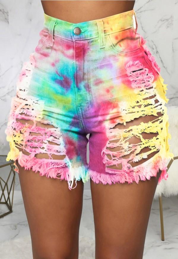 Pantalones cortos de mezclilla rasgados de cintura alta con efecto tie dye de verano