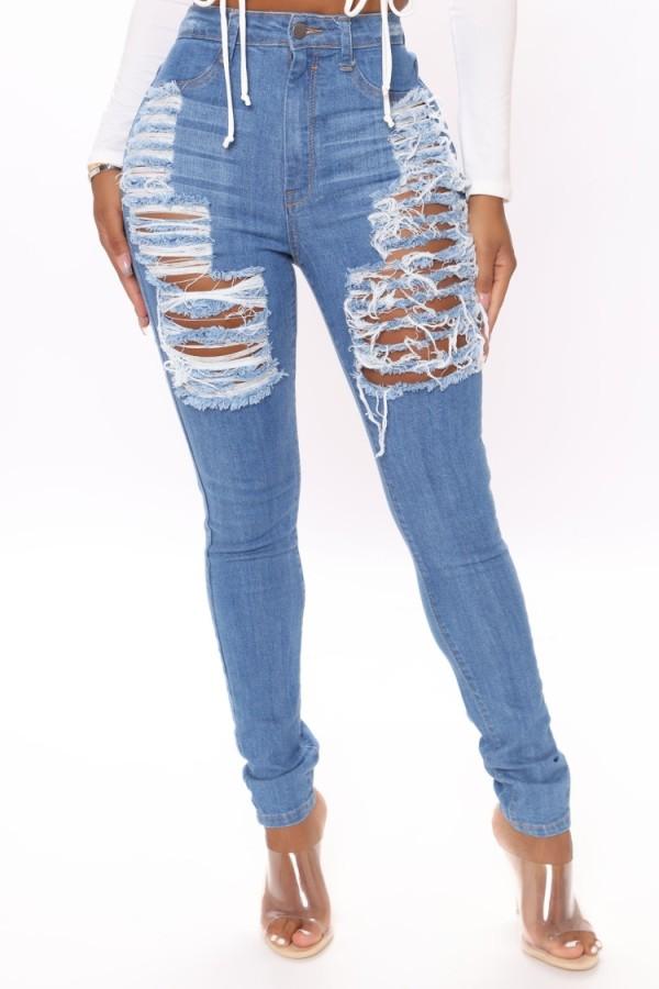 Jeans de cintura alta rasgados azules ajustados sexy de verano