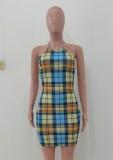 Mini vestido halter con estampado de cuadros sexy de verano