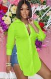 Blusa longa com fenda lateral verde verão