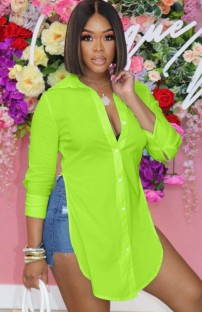 Zomer groene lange blouse met split aan de zijkant