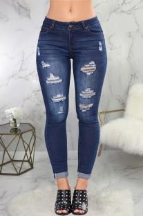 Jeans rasgados azuis escuros com ajuste sexy de verão