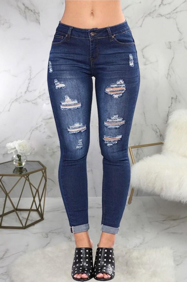 Jeans rasgados azul oscuro ajustados sexy de verano