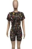Summer Casual Black Paints Crop Top y Biker Shorts Conjunto de 2 piezas