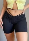 Pantalones cortos de jogging acanalados sexy negros de verano