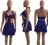 Conjunto de sujetador anudado sexy y falda plisada de verano azul