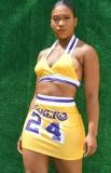 Summer Sports Print Conjunto de sujetador halter amarillo y minifalda