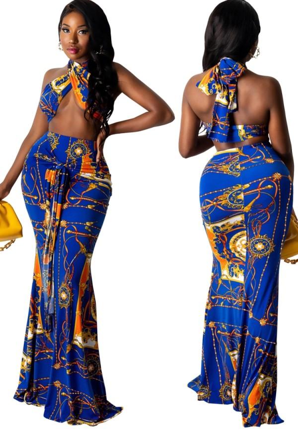Conjunto de falda larga y top corto con cuello halter azul y estampado retro de verano