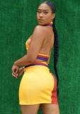 Conjunto de sujetador halter y minifalda en bloque de color con estampado deportivo de verano
