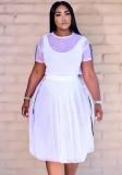 Conjunto de falda larga y top corto de malla de 3 piezas de verano blanco con mono