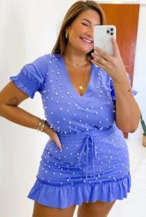 Zomer plus size casual blauw kralen shirt en minirok set