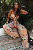 Conjunto de pantalón ancho y top corto anudado floral rosa de verano