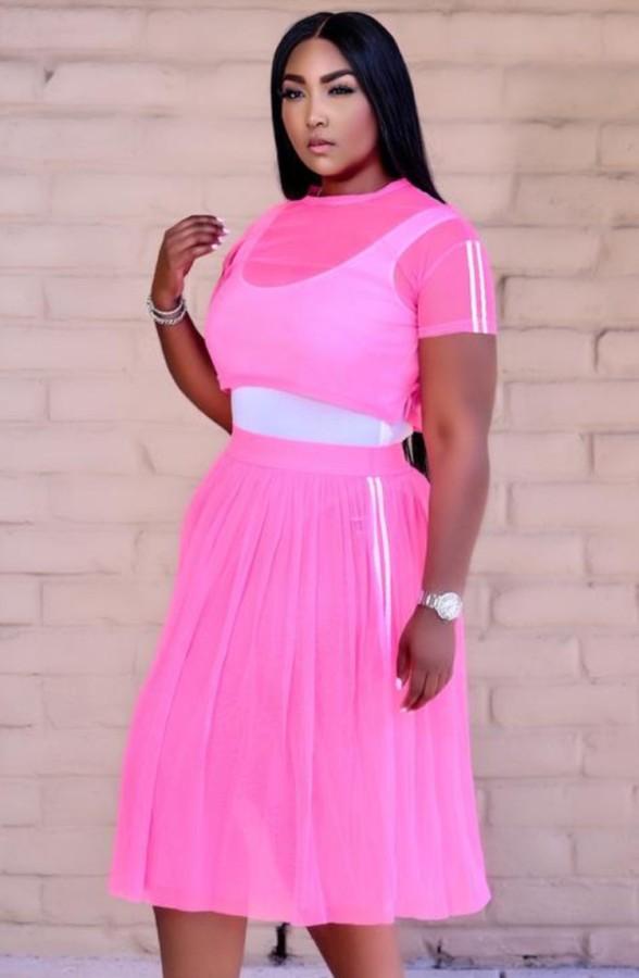Summer Pink Conjunto de falda larga y top corto de malla de 3 piezas con body