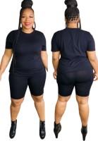 Sommer Plus Size Casual Schwarzes Shirt und Biker Shorts Set