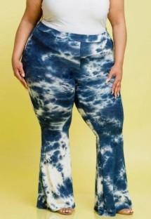 Yaz Büyük Beden Günlük Batik Mavi Yüksek Bel Pantolon