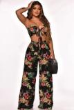 Conjunto de pantalón ancho y top corto con nudo floral negro de verano