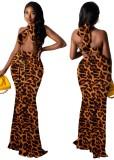 Conjunto de falda larga y top corto con cuello halter y estampado de leopardo de verano