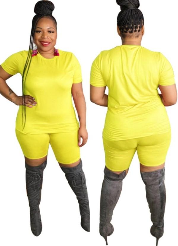 Summer Plus Size Casual Conjunto de pantalones cortos de motociclista y camisa amarilla