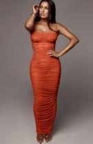 Vestido largo con tirantes fruncidos sexy naranja formal de verano