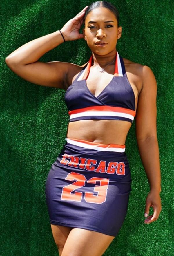 Summer Sports Print Conjunto de sujetador halter azul y minifalda