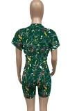 Summer Casual Green Paints Crop Top y Biker Shorts Conjunto de 2 piezas