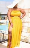 Summer Plus Size Polka Yellow Crop Top sin tirantes y conjunto de falda larga con abertura