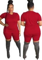 Sommer Plus Size Casual Red Shirt und Biker Shorts Set
