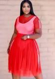 Summer Red Top corto de malla de 3 piezas y conjunto de falda larga con body