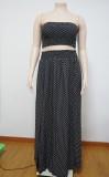 Summer Plus Size Polka Negro Crop Top sin tirantes y Falda larga con abertura