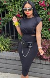 Conjunto de falda lápiz y top corto sexy negro formal de verano