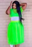 Conjunto de falda larga y top corto de malla de 3 piezas de verano verde con body