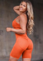Sommersport Orange Yoga BH und Shorts 2PC Set