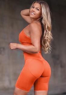 Summer Sports Orange Yoga Sujetador y pantalones cortos Conjunto de 2 piezas