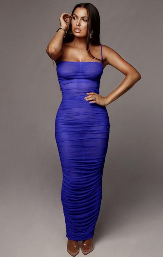 Vestido largo con tirantes fruncidos sexy azul formal de verano