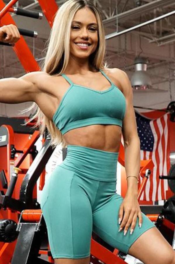 Summer Sports Green Yoga Bra and Shorts 2PC Set