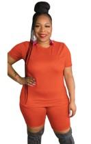 Sommer Plus Size Casual Orange Shirt und Biker Shorts Set