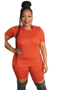 Zomer plus size casual oranje shirt en bikershortset