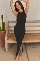 Vestido largo sin mangas negro formal de verano con abertura