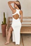 Vestido largo sin mangas blanco formal de verano con abertura